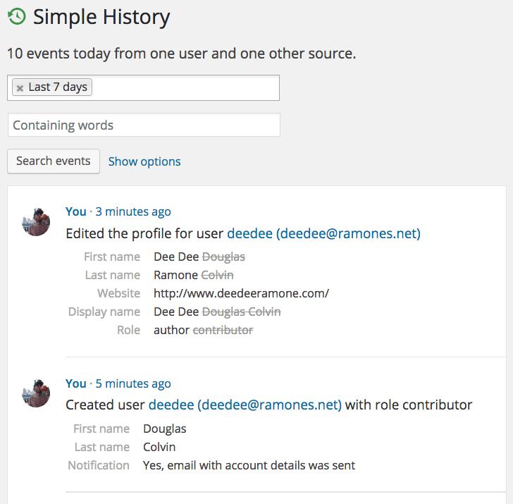 Simple History Wer hat wann und was an der Webseite gemacht 03