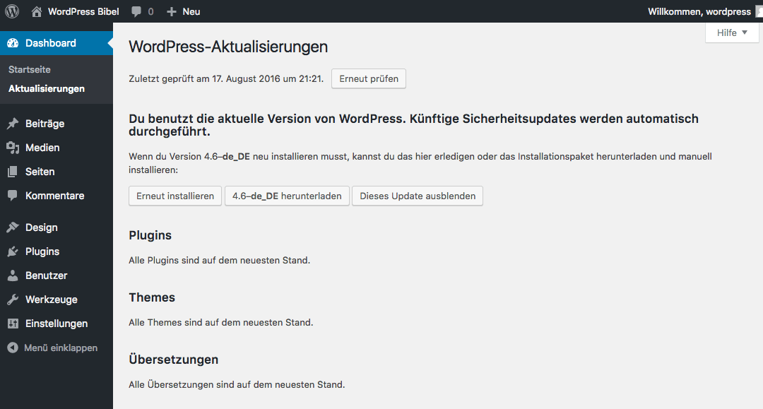 WordPress-Backend → Dashboard → Aktualisierungen