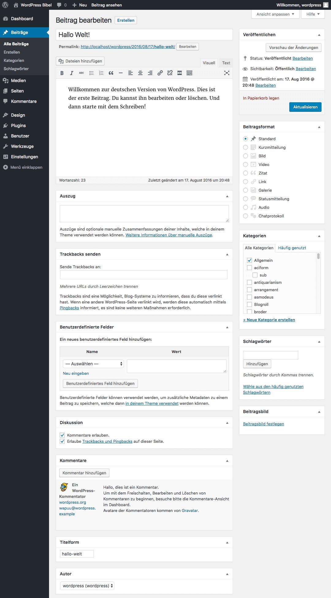 WordPress-Backend → Beiträge → Beitrag bearbeiten