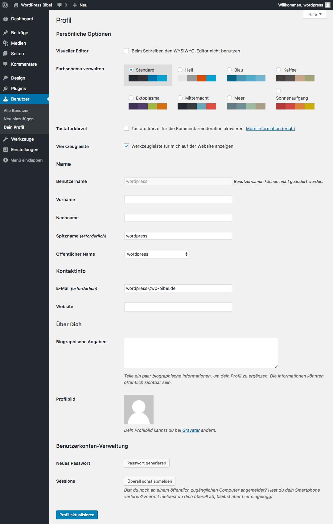 WordPress-Backend → Benutzer → Dein Profil