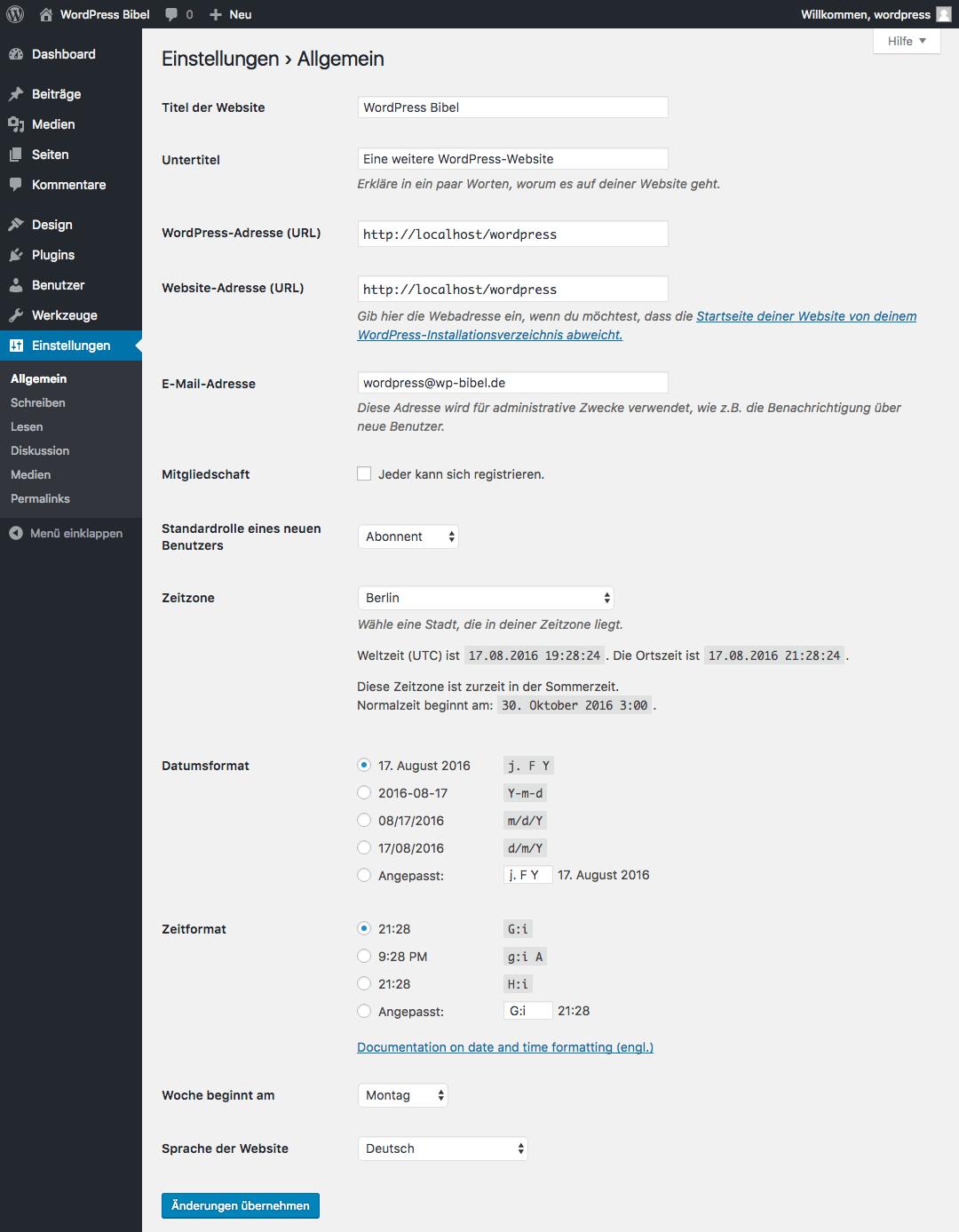 WordPress-Backend → Einstellungen → Allgemein