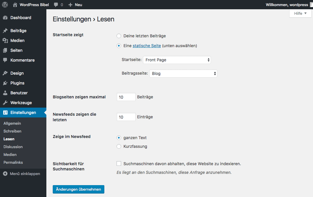 WordPress-Backend → Einstellungen → Lesen