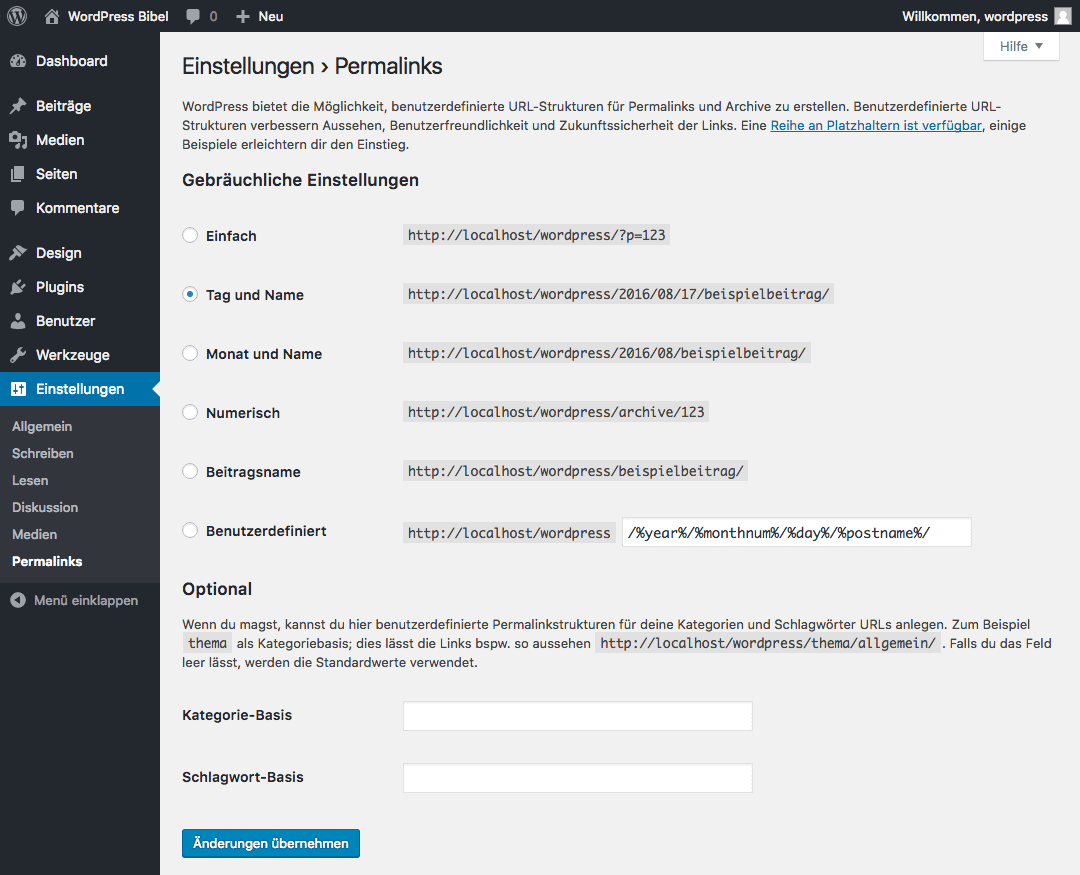WordPress-Backend → Einstellungen → Permalinks