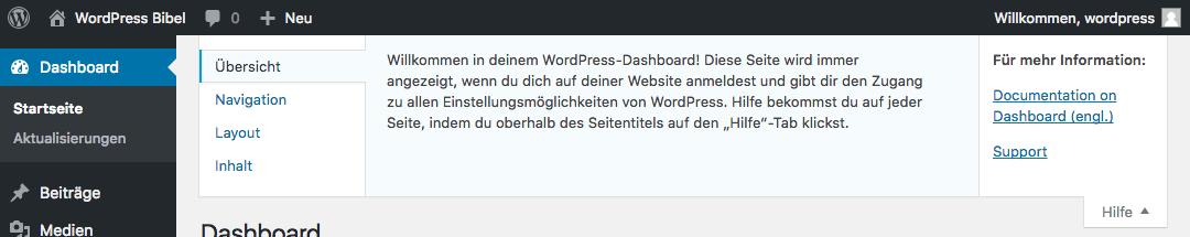 WordPress-Backend → Hilfe