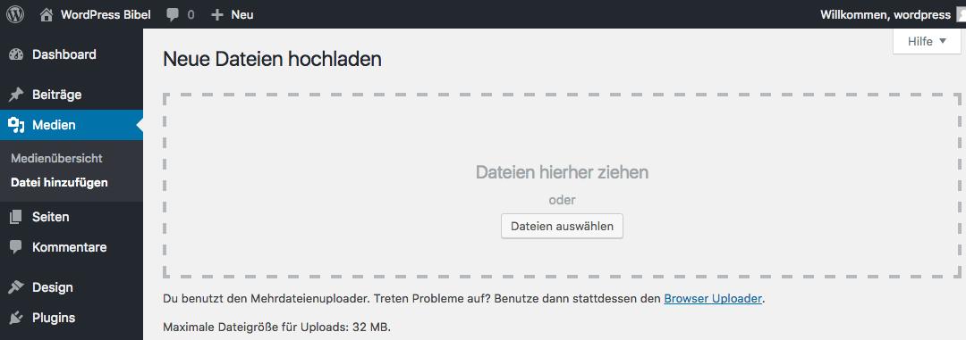 WordPress-Backend → Medien → Neue Dateien hochladen