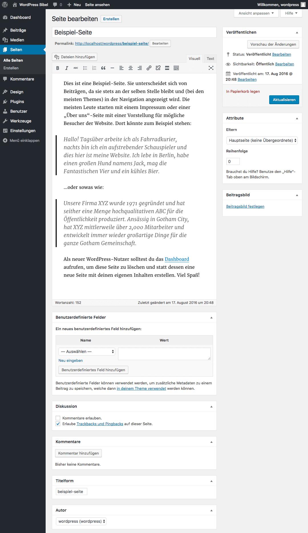 WordPress-Backend → Seiten → Seite bearbeiten