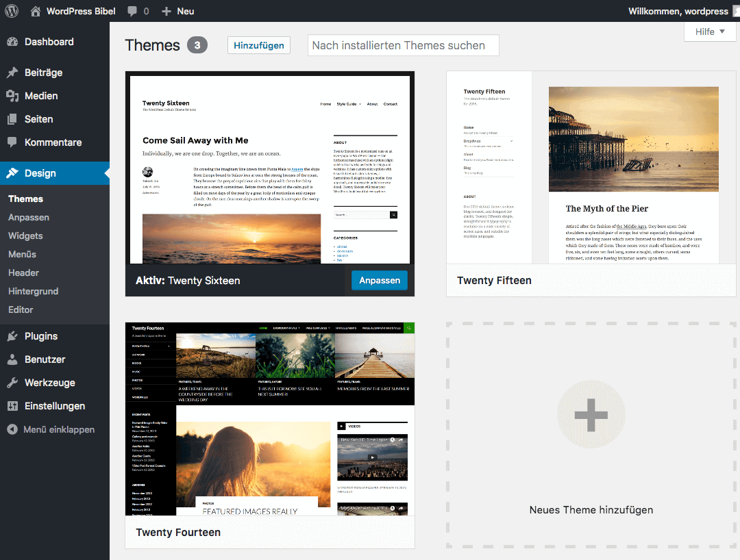 WordPress-Backend → Design → Themes verwalten