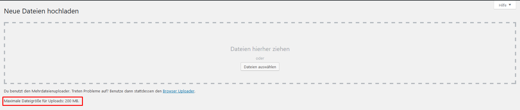 upload-limit erhöhen